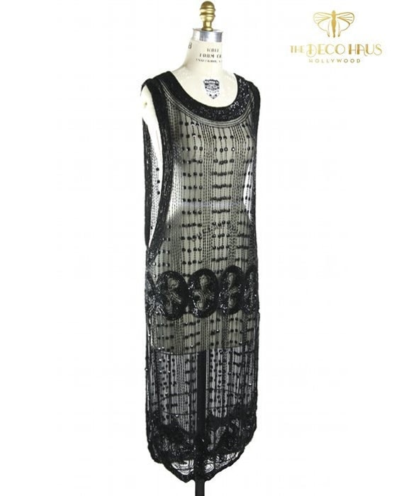 Tabards The Deco Haus: Jet 1920's ABBEY Beaded Flapper Gatsby Tabard Gown By