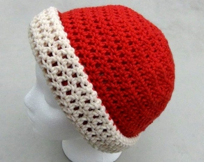 Oatmeal Cream Hat - Red Hat - Winter Hat - Reversible Head Wear - Rolled Brim Hat