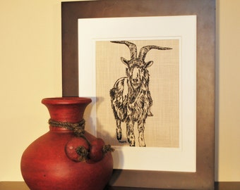 Art For Kitchen Goat Kitchen Wall Art Farm Animal Artwork Screen Printed Linen