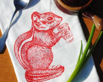 Red Chipmunk Flour Sack Tea Towel - Screen Printed Flour Sack Tea Towel - Woodland Animal Kitchen Accessories - Wedding or Birthday Gift