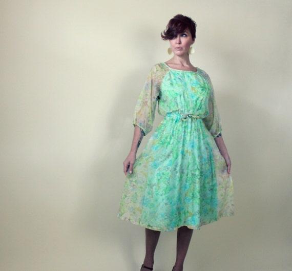 Vintage 1970s Dress,  Mint Green Chiffon Party Dress, Vintage 70s Dress, Size Medium