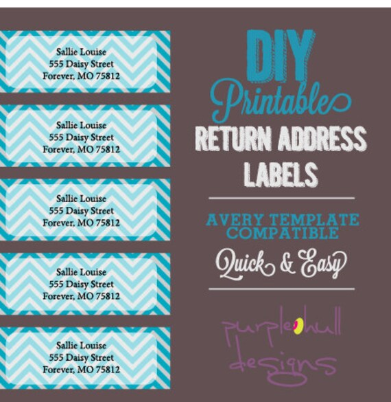 Chevron Return Address Labels Turquoise Gray Avery Template – Return Labels Template