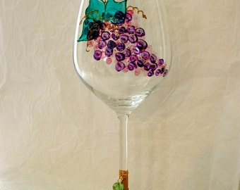 Oversized Hand Painted Grapes Crystal Wine Glass. Wire and Beads.