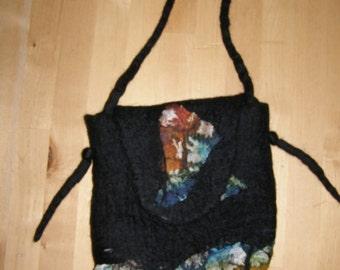 Felt bag, shoulder bag, messenger bag black, with silk