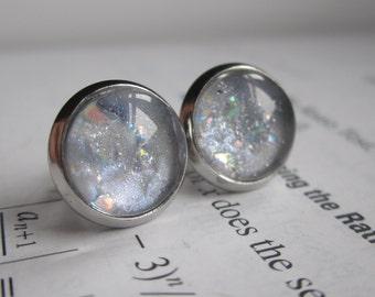 Luna - Earring studs - science jewelry - science earrings - galaxy jewelry - physics earrings - fake plugs - plug earrings - nebula studs