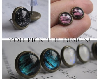 One pair 8mm - Earring studs - science jewelry - science earring - galaxy jewelry - physics earrings - fake plugs - plug earrings - nebula