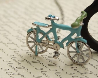 Long Whimsical Necklace, Bicycle Lovers, Sparkly Blue Bicycle, Large Bicycle Charm, Silver Necklace