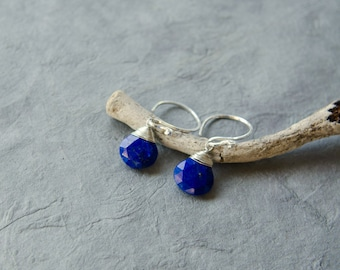 Lapis lazuli earrings, Sterling silver lapis earrings, Lapis drop earrings, Blue lapis earrings, Lapis earrings, Blue stone earrings, Dainty