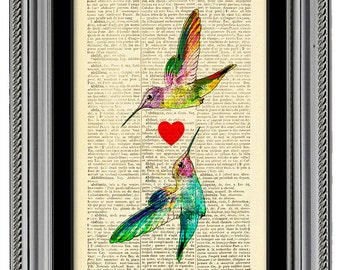 Love poster, Hummingbird Art print, With Love gift for woman girl, vintage Dictionary Book pages, CODE/039