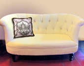 Handmade Pillow Cover / Cotton Candy Pink / Bronze / 20x20 / Garden Gazebo Toile Print