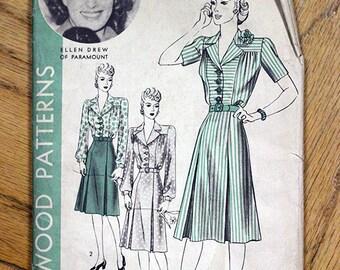 SALE M 40s Vintage Hollywood Dress Pattern No. 679 Mod Day Dress