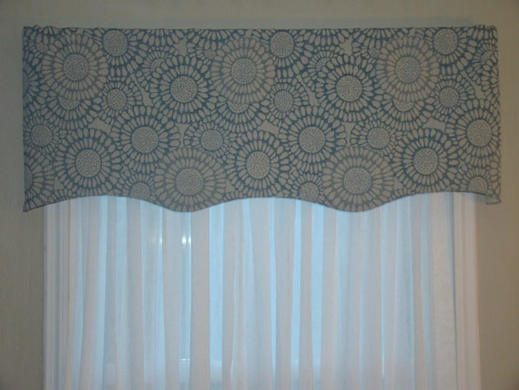 Window Valance, Shabby Chic, Scalloped Valance, Blue and Light Gray or ...
