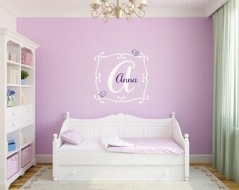 Bird Wall Decal Girl Name Decal Girl Nursery Decal Girl Bedroom Decal Baby Girl Nursery Nursery Name Decals Baby Room Decals