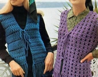 Vintage Women's Crochet Fringed Vest Pattern.