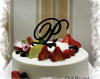 "Wedding Cake Topper - 5""or 6"" Beautiful Single Monogram letter Cake Topper ( Special Custom Made Initial Wedding Topper )"