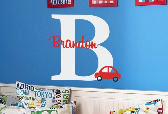 Car with Name Wall Decal with Boys Personalized Name for Nursery or Bedroom Vinyl Monogram for Kids Room