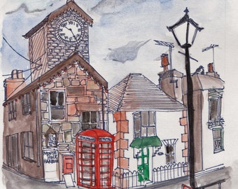 Mousehole Cornwall English Illustration Watercolour pen & ink