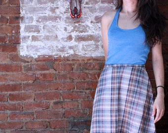 Plaid Light Weight A-line Skirt ~ Small