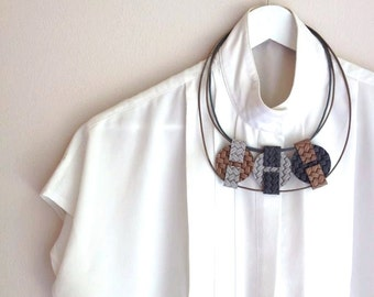 Leather Necklace - Geometric Necklace - Statement Necklace - Circle Necklace - Taupe and Grey  - Circles