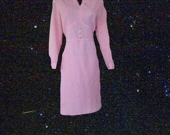 1970s vintage plus size pastel pink rhinestone lace dress 14 1x extra large xl