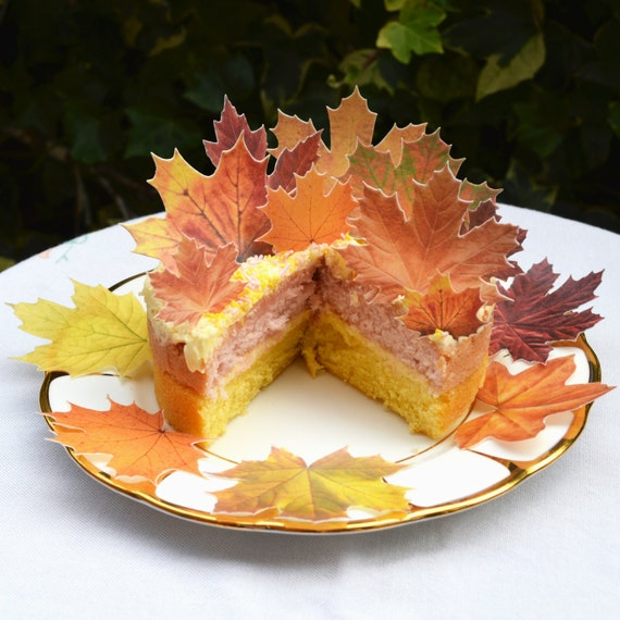 wedding cake edible decorations edible maple leaves autumn fall x 14 rustic orange wedding 8636
