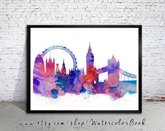 London Watercolor Illustration Print, London Painting, London art, City Skyline, UK print, Home decor, Tower bridge, City Silhouette