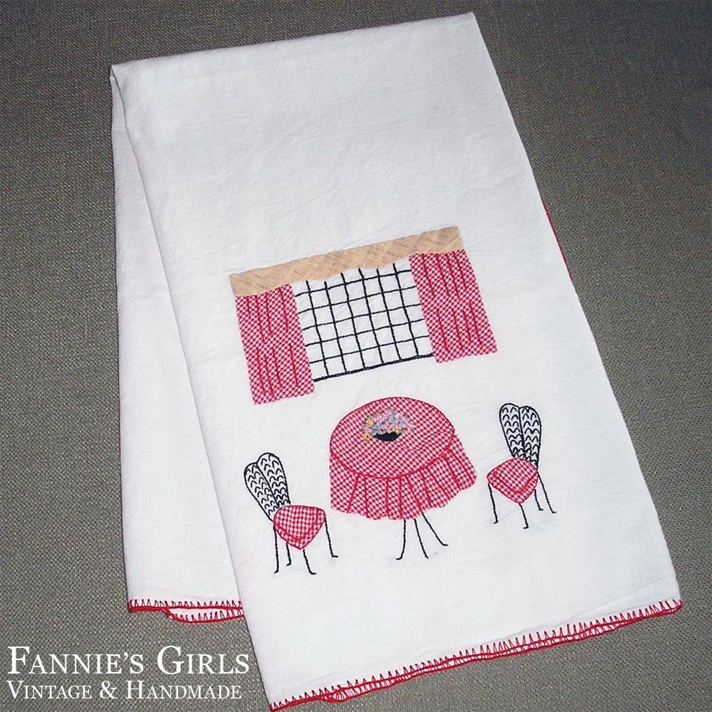 Red Kitchen Hand Towels: Mid Century Linens Red Kitchen Decor Large Kitchen Towel