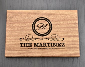 Monogram Personalized Cutting Board, Custom Wedding Gift, Anniversary Gift, Housewarming Gift, Engraved Wooden Chopping Block, Kitchen Decor