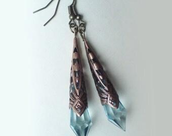 Art Deco Bronze Teardrop Earrings , Blue Teardrop Earrings , Turquoise Earrings , Dangling Earrings , Handmade Jewelry , Steampunk Earrings