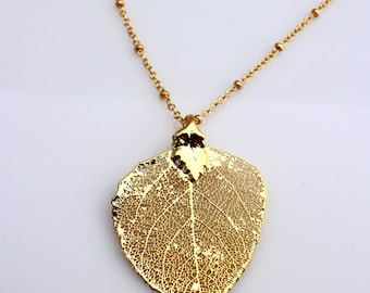 Gold Dipped Aspen Leaf Necklace, Real Aspen Leaf Dipped in 24K Gold Pendant Necklace, Nature Jewelry,Leaf Pendant,Fall wedding, Bridesmaid