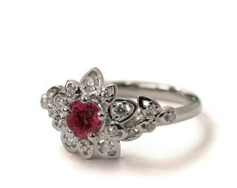 Ruby Art Deco Petal Engagement Ring - 14K White Gold and Ruby engagement ring,leaf ring,flower ring, vintage, halo ring,Ruby and Diamonds,2B