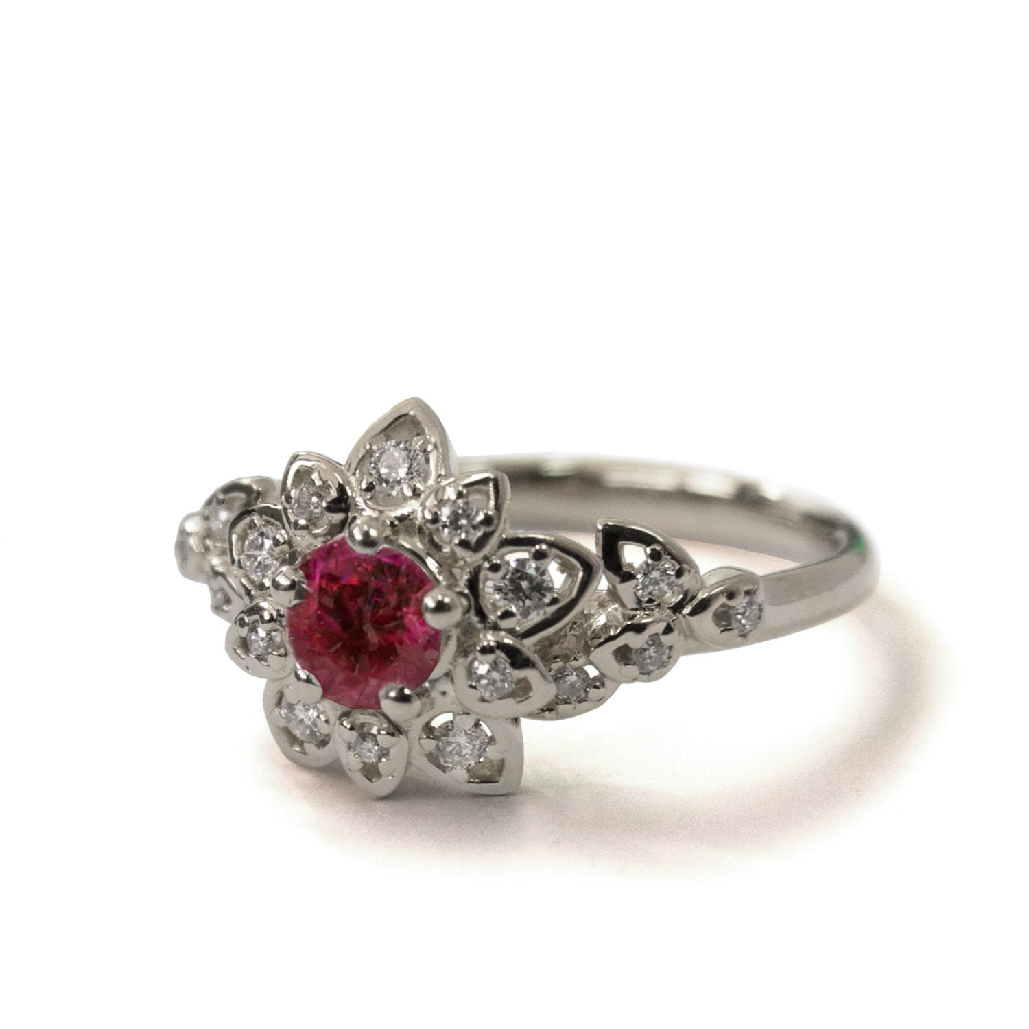 Ruby Art Deco Petal Engagement Ring 14K White Gold And Ruby