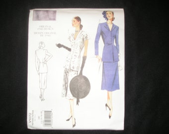 Vogue 1072  Vintage Model Styled Blouse & Skirt Sewing Pattern;  Sizes 12-18