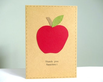 Teacher thank you card - personalised teacher cards - apple card for teacher - teacher appreciation card - end of term thank you teacher