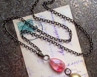 Ball Locket Necklace with Cherry Quartz Stone and Antique Brass Chain. Vintage Locket Necklace