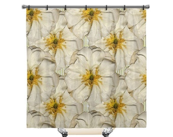 White Roses, Shower Curtain, Fabric Shower Curtain, Roses Shower Curtain,  Vintage,