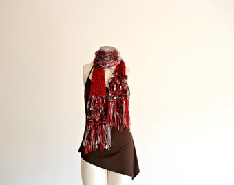 Red and Grey Scarf Red and Silver Ohio Buckeyes Team Knit Scarf for Women