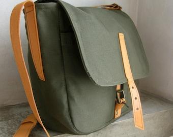 Messenger Bag, Canvas Bag, Canvas Side Bag, Shoulder Bag, Army Green Canvas Bag, Canvas Leather Bag, Men Crossbody Bag, Womens Crossbody Bag