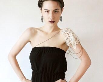 lace epaulette . ASIYA  .  shoulder jewelry .  body jewelry .  off white  .  boho chic .  unique jewelry .  bride  jewelry