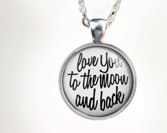 To The Moon (WHT) : Glass Dome Necklace, Pendant or Keychain Key Ring. Gift Present metal round art photo jewelry HomeStudio. Silver Bronze