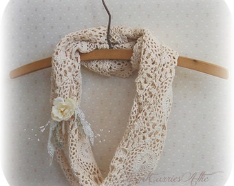Bandana Scarf, Cowl Neck Scarf, Crochet Infinity Scarf,  Rustic Chic, Shabby Victorian,  made from Vintage