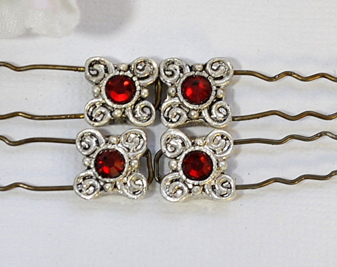 Red U-Pins Set of 4 Red Bobby Pins French Bobbies Bridal Hair Accessories