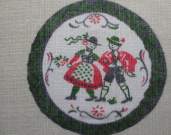 Vintage Tablecloth, Folk Images, German Table Cloth, German Folk, Table Covering, Red and Green, Folk Costumes, German Musicians