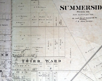 1880 Large Rare Vintage Map of Summerside, PEI - Vintage City Map - Old City Map - Handcolored