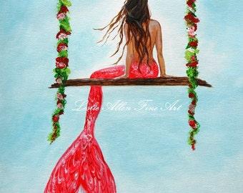 "Mermaid Art Print Giclee Mermaids Mermaid Painting Fantasy Wall Art Children's Art  Ocean Seascape  Magical ""Mermaid Hangout"""