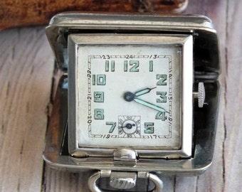 Vintage Elgin Stainless Steel Travel Clock by avintageobsession on etsy