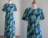 CLEARANCE Vintage 1960s Hawaiian Dress - Stormy Blue Floral Barkcloth Maxi Dress - 60s Hawaiian Bark Cloth Dress M