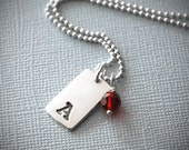 Personalized Birthstone Initial Necklace - Silver Custom Mini Tag Initial Charm -  Sterling Silver Chain