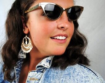 Amazing Vintage 1950s Cat Eye Sunglasses - Gold Metal Frames Glasses - Tura