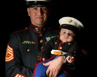 Baby Costume - Marine Corps - Baby Dress Blues - Marine Corps Baby - usmc - Marine Corps Clothing - Baby usmc Dress Blues - Dress Blues